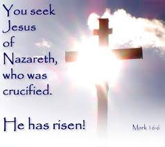 Mark 16 cross risen