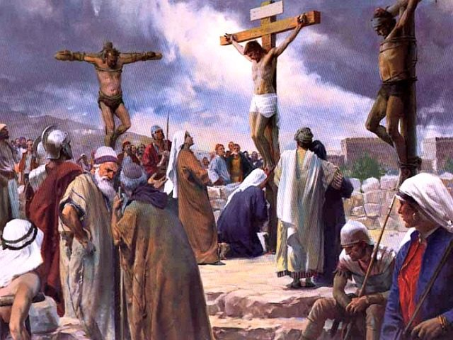 Luke 23 Jesus on the cross with others