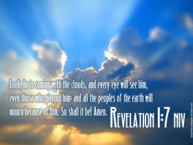 Revelation 1 riding on the clouds
