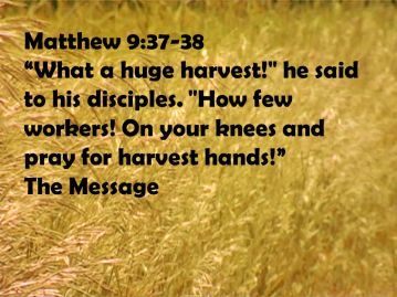 Matthew 9 pray for harvest hands