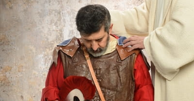 Jesus laying hands on Roman Centurion
